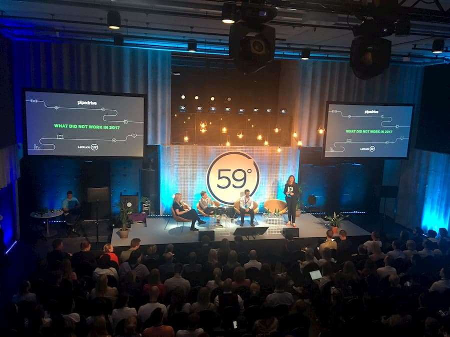 pic of Annika moderating a marketing panel during the 2018 Latitude 59 conference